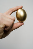 Hand holding a golden egg Stock Photography