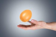 Hand Holding Golden Egg Stock Photo