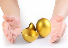 Hand Holding  golden eggs Stock Photography
