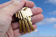 Hand holding golden key Stock Image