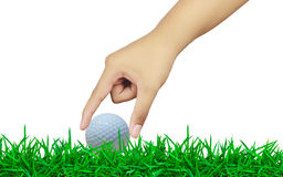Hand holding a golf ball Stock Photo