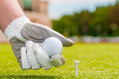 Hand holding a golf ball near the tee Royalty Free Stock Photo