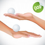 Hand Holding Golf Ball Stock Images