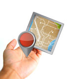 Hand holding a gps icon Royalty Free Stock Image