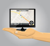 Hand Holding a GPS Royalty Free Stock Photo