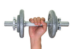 Hand holding gray dumbbell Royalty Free Stock Image