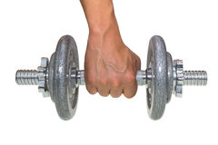 Hand holding gray dumbbell Royalty Free Stock Images