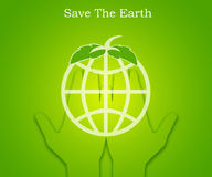 Hand holding a green abstract earth. With leaves,Illustration Royalty Free Stock Image