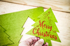 Hand holding Green christmas tree with Merry Christmas word at w Stock Images