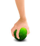 Hand holding green planet Royalty Free Stock Photos