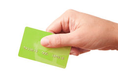 Hand holding green plastic card Royalty Free Stock Images