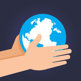 Hand Holding And Guarding Planet earth. Vector stock of two hand holding and guarding planet earth Royalty Free Stock Photo