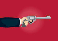 Hand Holding Gun Cartoon Vector Illustration Royalty Free Stock Images