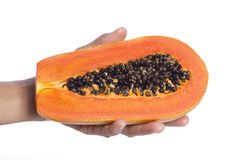 Hand holding a half papaya. Woman hand holding a half papaya Royalty Free Stock Images