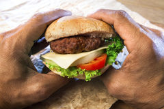 Hand holding ham burger and bun with tomatio onion and green vege Royalty Free Stock Image