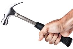 Hand holding a hammer Royalty Free Stock Image