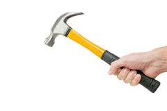 Hand holding hammer Stock Images