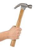 Hand holding hammer isolated on white Royalty Free Stock Photo