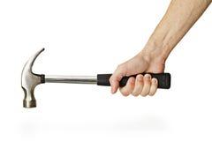 Hand holding hammer isolated on white background Royalty Free Stock Image