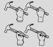 Hand holding hammer line art Stock Photo