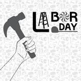 Hand holding hammer with pattern of tool backgroun Stock Photo