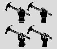Hand holding hammer silhouette. Vector illustration of hand holding hammer silhouette Stock Photos