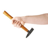 Hand holding a hammer tool, composition isolated over the white background Royalty Free Stock Photography