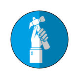 Hand holding hammer tool construction-blue circle shadow Royalty Free Stock Images
