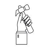 Hand holding hammer tool construction outline Stock Photo