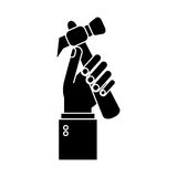 Hand holding hammer tool construction pictogram Stock Photography