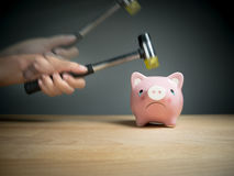 A hand holding a hammer which is raised above a pink sad piggy bank, with a shocked and apprehensive facial expression. Reflective surface and light grey stock image