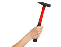 Hand holding a hammer Royalty Free Stock Photos