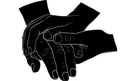 Hand holding hand together  Royalty Free Stock Photo