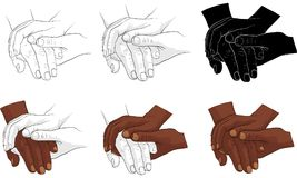 Hand holding hand together  Royalty Free Stock Image