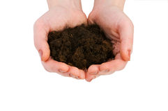 Hand holding handful of soil Royalty Free Stock Photos