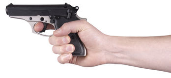 Hand Holding Handgun, Gun, Pistol, Weapon Isolated. Hand holding and pointing a handgun weapon. The gun is a small caliber type. Isolated on white. Owning a hand Royalty Free Stock Photo