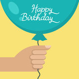 Hand holding Happy Birthday blue balloon, vector illustration Royalty Free Stock Photos