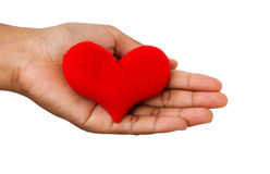 Hand holding the heart isolated on white background Stock Photos