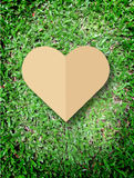 Hand holding heart love the nature symbol Grass background Stock Photography