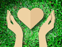 Hand holding heart love the nature symbol Grass background Royalty Free Stock Photography
