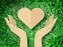 Hand holding heart love the nature symbol Grass background Royalty Free Stock Photos