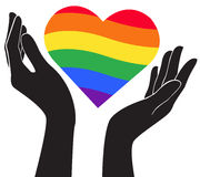 Hand holding heart rainbow flag LGBT symbol vector Stock Photography