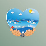 Hand holding heart shape with ocean wave paper art style. World oceans day concept design.Hand holding heart shape with ocean wave paper art style.Vector Royalty Free Stock Photography