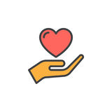 Hand holding heart, trust filled outline icon, line vector sign, linear colorful pictogram Stock Photo