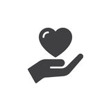 Hand holding heart, trust icon vector, filled flat sign, solid pictogram isolated on white.