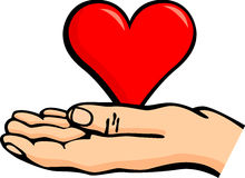 Hand holding a heart vector illustration Stock Photography