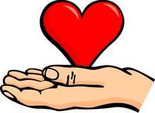 Hand holding a heart vector illustration. Vector illustration of a hand holding a heart Stock Photography