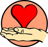 Hand holding a heart vector illustration Stock Photos