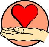 Hand holding a heart vector illustration Stock Photos