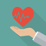 Hand holding heartbeat Royalty Free Stock Image